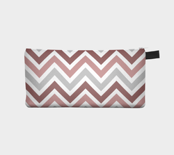 Rose Chevron Cosmetic Case - Pencil Pouch
