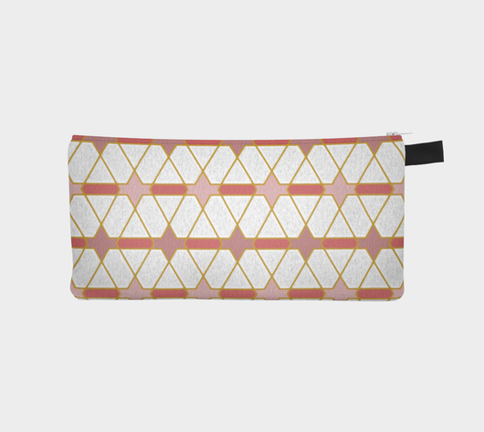 Rosy Painted Geometric2 Cosmetic Pencil Case Printed Zip Pouch