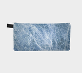Blue Marble Cosmetic & Pencil Case - Modern Printed Zipper Clutch - Marble Makeup Case