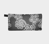 White Lace Modern Zipper Clutch - Makeup Bag Pencil Case - Bridesmaids Clutch