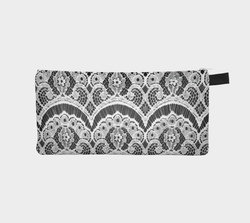 Lacy Distraction White Lace on Black Zipper Clutch Printed Cosmetic & Pencil Case Makeup Bag Bridesmaids Gift