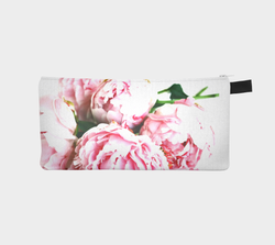 Peonies Flowers Cosmetic & Pencil Case - Floral Makeup Bag