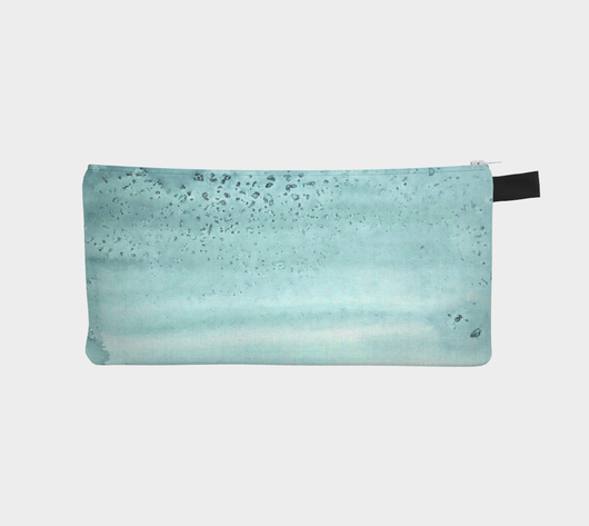 Salted Watercolor Turquoise Pencil Case Cosmetic Zip Pouch - Teal Makeup Bag