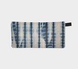 Shibori 14 - Japanese Resist Tie Dye Printed Cosmetic & Pencil Case - Blue Tie Dye Makeup Bag