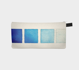 Blue Watercolor Swatches Pencil Case - Cosmetic Bag Makeup Pouch - Travel Zipper Case