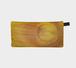 Golden Peacock Feather Printed Pencil & Cosmetic Case - Gold Makeup Zip Bag - Bridesmaids Clutch