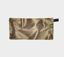 Gold Silk Printed Cosmetic & Pencil Case - Golden Silk Makeup Bag