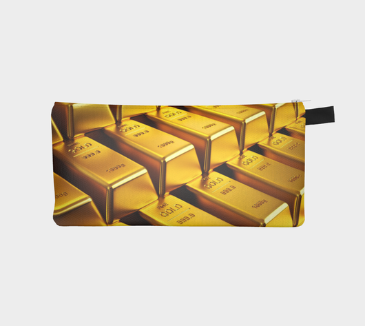 Golden Obsession - Bling Cosmetic & Pencil Case - Gold Bars Makeup Bag