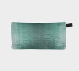 Worn Teal Velvet Makeup & Cosmetic Bag - Velvet Printed Pencil Case