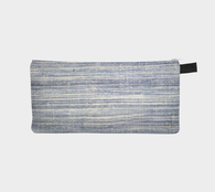 Woven Indigo Dyed Fabric Printed Zipper Clutch - Cosmetic & Pencil Case - Makeup Bag
