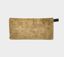 Golden Brown Marble Printed Cosmetic Case - Gold Marble Pencil Case