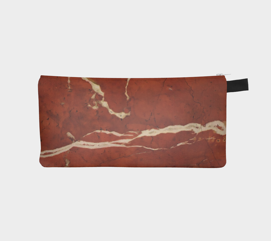 Copper & Creme Marble Cosmetic Clutch - Zip Pencil Case - Marble Printed