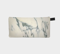 Ivory & Slate Printed Cosmetic and Pencil Case - Marbled Makeup Bag - Marble Clutch Bag - Marble Zip Purse