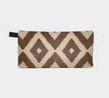 Woven Southwest Motif Brown Cosmetic & Pencil Case - Boho Travel Makeup Bag