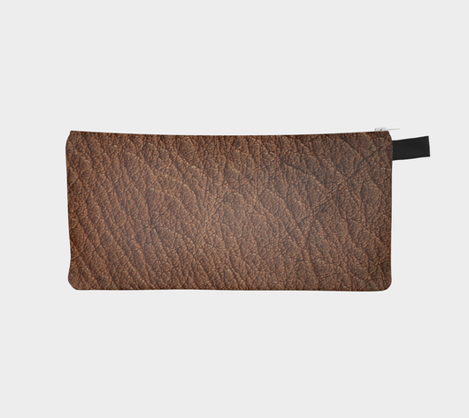 Vegan Cruelty Free Red Brown Leather Zip Pouch - Custom Printed Faux Leather