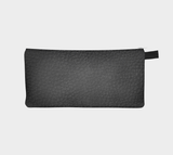 Murdered Out Faux Black Leather Zip Clutch Modern Printed Leather Texture Cruelty Free