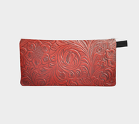 Floral Tooled Leather Red Faux Leather Printed Zipper Clutch