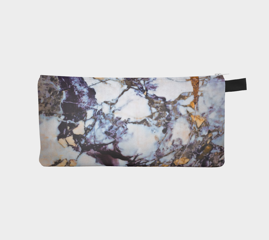 Gold & Blue Marble Printed Zip Clutch