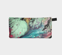 Multi Pastel Marble Cosmetic & Pencil Case - Modern Marbled Printed Zip Clutch