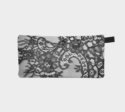 Black Lace 1 Printed Cosmetic Makeup Zip Clutch