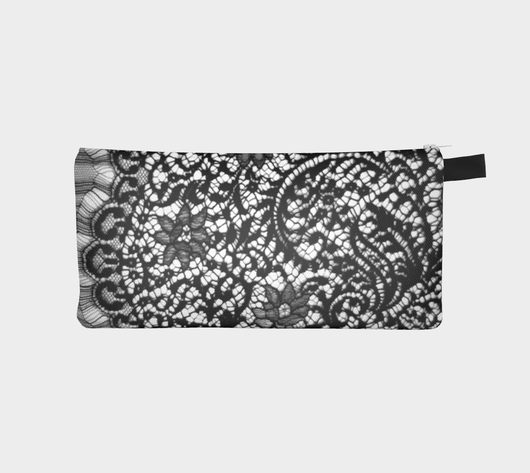 Black Lace 2 Printed Zip Clutch Purse