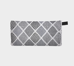 White Lace 3 Geometric Lace Printed zip clutch