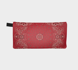 Red Bandana Printed Cosmetic and Makeup Bag Travel Kit Clutch