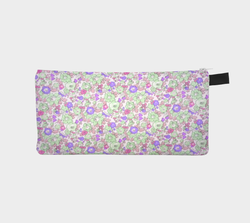 Purple Pastel Floral Sweet Flower Makeup Bag Cosmetic Clutch