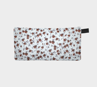 Chocolate Roses Tiny Floral Printed Cosmetic Case Zip Pouch