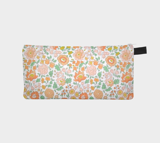 Peachy Keen Floral Printed Cosmetic Travel Zip Pouch Clutch