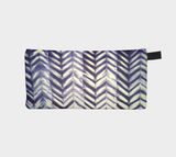 Shibori 34 Japanese Blue Indigo Tie Dye Travel Case Cosmetic Zip Clutch