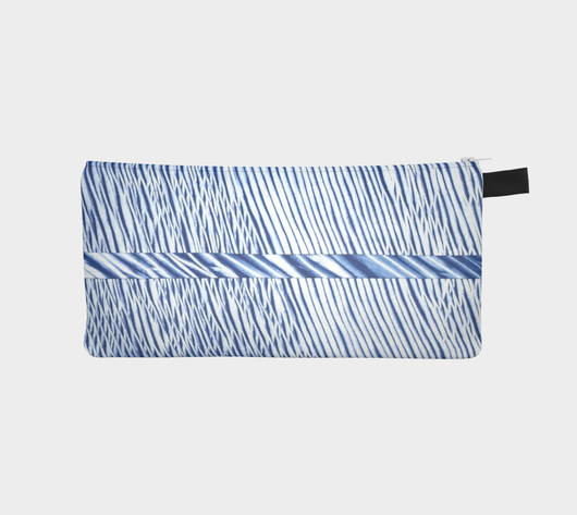 Shibori 35 Japanese Blue Indigo Tie Dyed Cosmetic Case Zip Pouch Travel Bag