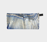 Shibori 41 Printed Pleated Japanese Indigo Dyed Fabric Cosmetic Clutch Travel Bag