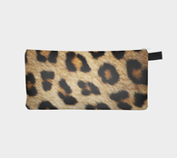 Leopard Skin Faux Fur Printed Cosmetic Travel Case Makeup Purse