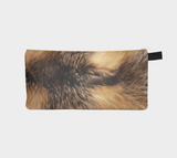 Golden Fox Faux Printed Cosmetic Travel Case Zip Clutch Makeup Bag