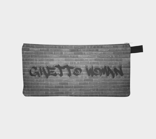 Ghetto Woman Grey Cosmetic Pencil Zip Clutch Printed Makeup Bag Urban Street Zipper Case