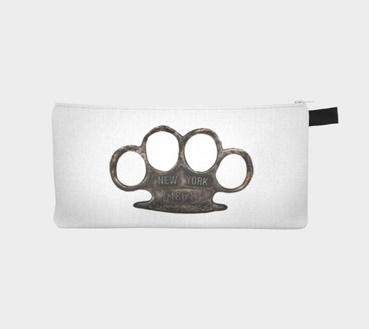 Brass Knuckles Cosmetic Pencil Zip Clutch Printed Makeup Bag Urban Street Zipper Case