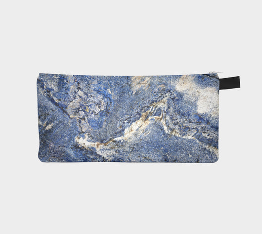 Blue Symphony Marble Cosmetic & Pencil Case - Modern Printed Zipper Clutch - Marble Makeup Case