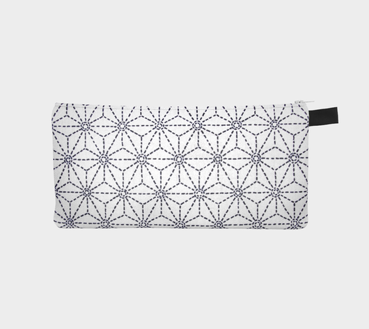 Japanese Sashiko 3 Zip Case Travel Pouch Pencil Case