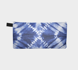 Shibori 16 - Modern Japanese Shibori Printed Zip Pouch - Blue Tie Dyed Cosmetic & Pencil Case