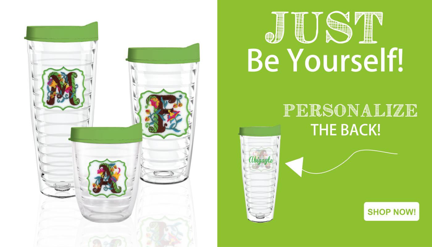 JACOBIAN FLORAL INITIAL TUMBLERS