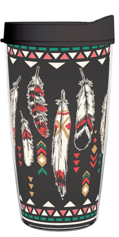 Aztec Feathers 16oz Tumbler (Black), Tumbler - Smile Drinkware USA