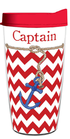 Captain Red Chevron Wrap 16oz Tumbler, Tumbler - Smile Drinkware USA