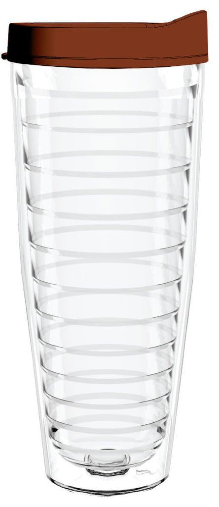 Clear Brown Lid 26oz Tumbler, Tumbler - Smile Drinkware USA