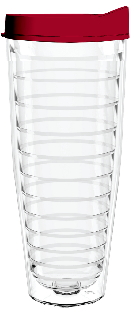 Clear Maroon Lid 26oz Tumbler, Tumbler - Smile Drinkware USA