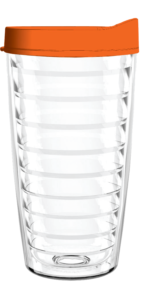 Clear Orange Lid 16oz Tumbler, Tumbler - Smile Drinkware USA