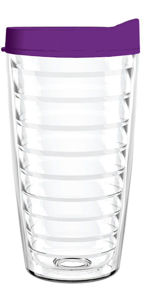 Clear Purple Lid 16oz Tumbler, Tumbler - Smile Drinkware USA