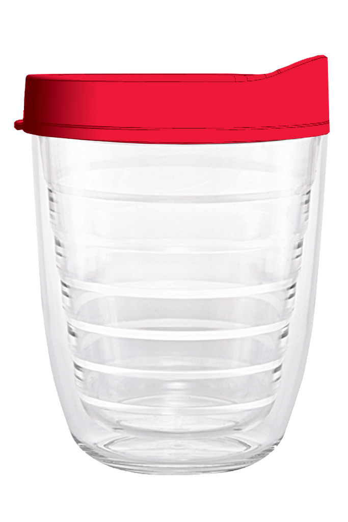 Clear Red Lid 12oz Tumbler, Tumbler - Smile Drinkware USA
