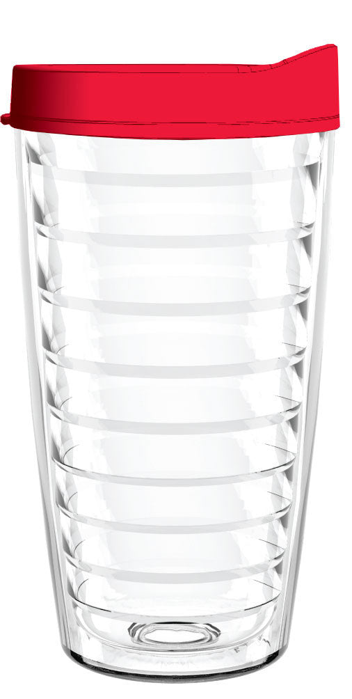 Clear Red Lid 16oz Tumbler, Tumbler - Smile Drinkware USA