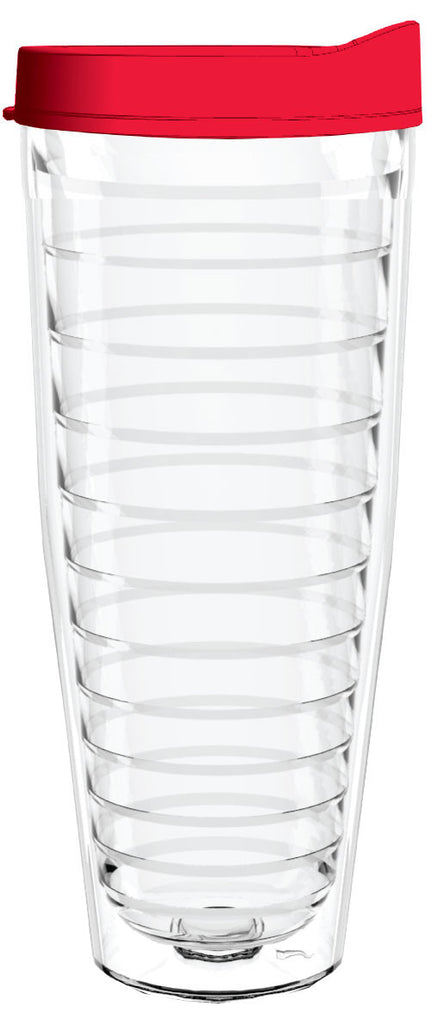 Clear Red Lid 26oz Tumbler, Tumbler - Smile Drinkware USA